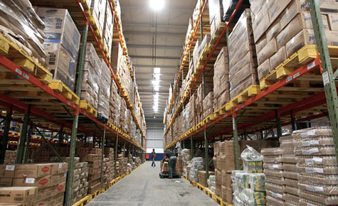 The inside of a commercial warehouse.